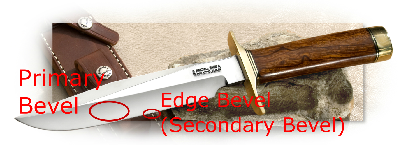 Primary Bevel and Edge Bevel (Secondary Bevel) shown