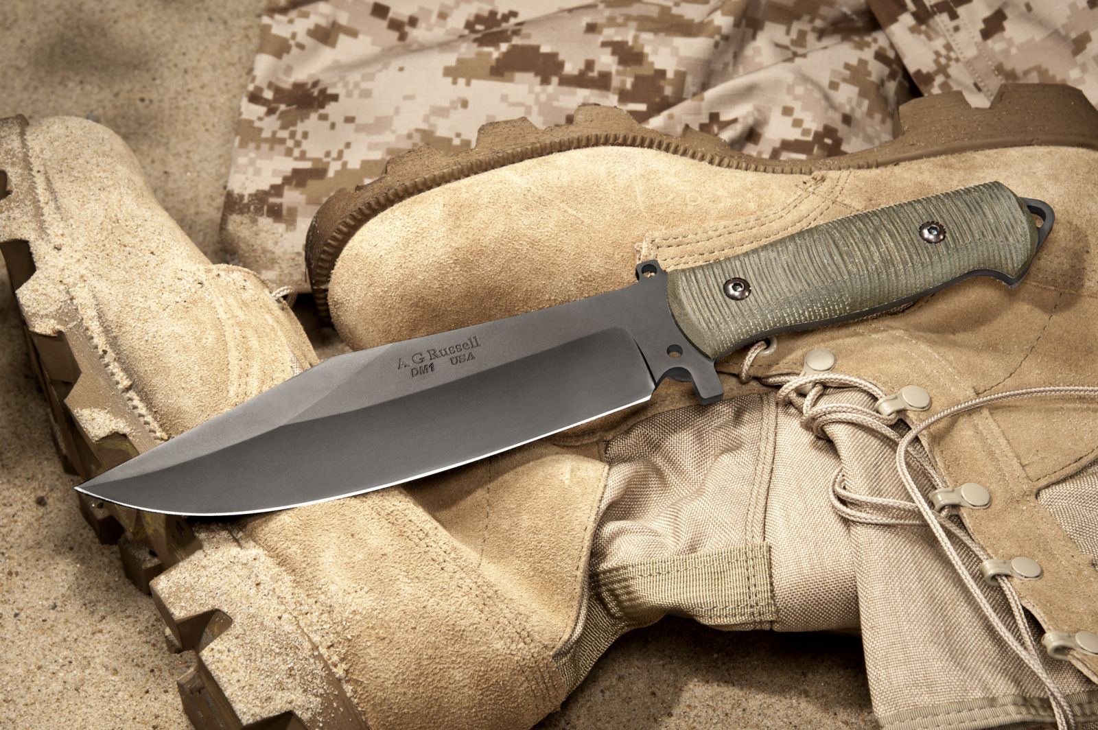 A.G. Russell Sandbox Bowie Blade with DM-1 non-stainless high carbon steel
