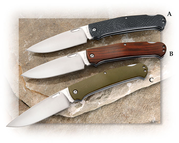 "AG Russell Folding Gents Hunter II 3-5/8"" drop point blade 9cr13comov carbon fiber cobolo g-10"