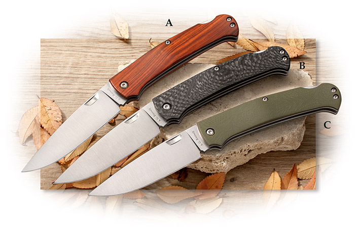 A.G. Russell Medium Folding Gents Hunter Droppoint Lockback in Cocobolo, Carbon Fiber, or G-10