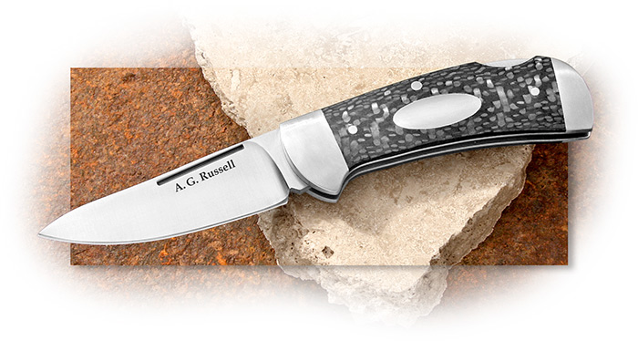 A G RUSSELL - VEST POCKET SEMI-SKINNER WITH CARBON FIBER HANDLES & CPM-S35VN Stainless Steel