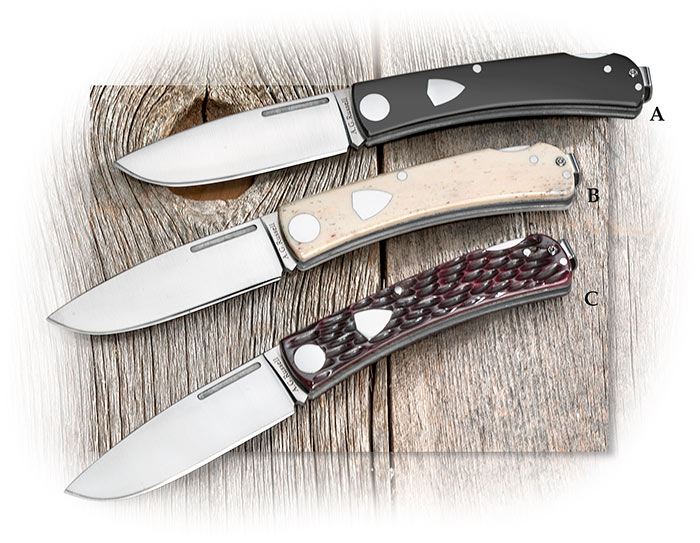 A.G. Russell Rancher Lockback w/ Deep Pocket clip - White Bone, Jigged Bone, Black Delrin