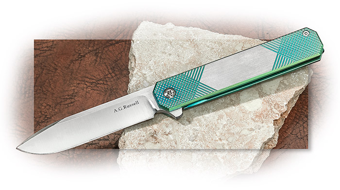 A.G. Russell Green Dual-Cross Anodized Titanium framelock flipper with deep pocket clip