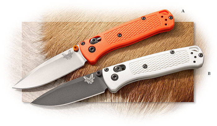 BENCHMADE - MINI BUGOUT - ORANGE or White GRIVORY HANDLE - PLAIN EDGE BLADE - AXIS LOCK