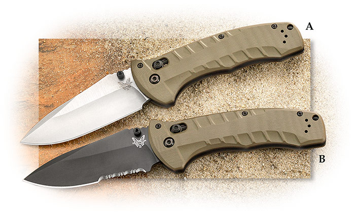 BENCHMADE - TURRET - PLAIN EDGE - OLIVE DRAB G-10 HANDLE - CPM-S30V BLADE STEEL