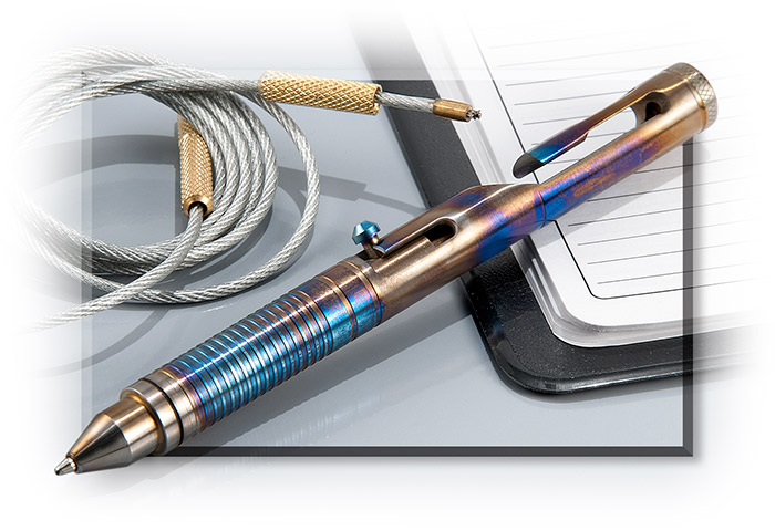 .45 Caliber Titanium Tactical Pen Blue/Bronze finish