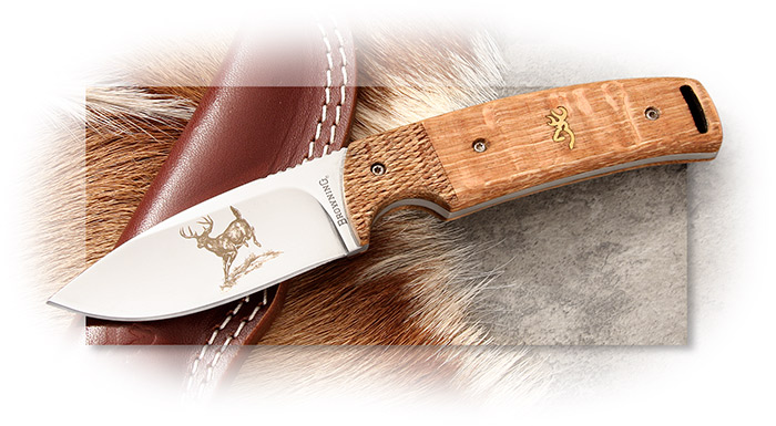BROWNING - BUCKMARK HUNTER - 50TH ANNIVERSARY - ILLUSTRATION FROM 1969 CATALOG ENGRAVED ON BLADE
