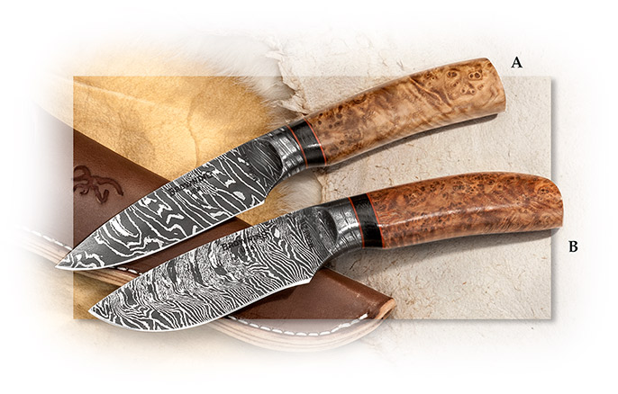 BROWNING - STORM FRONT DAMASCUS BIG BELLY SKINNER - 3-1/2 INCH 200 LAYER DAMASCUS BLADE - BLACK ASH