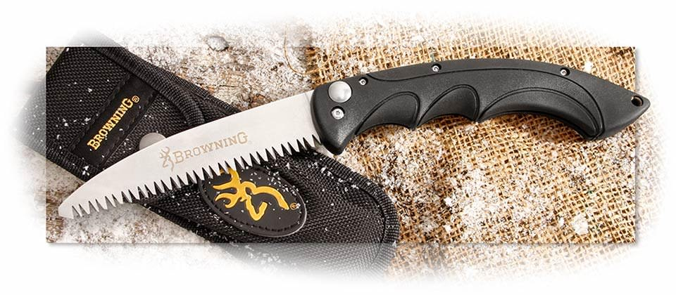 BROWNING - FOLDING CAMP SAW - 4116 STAINLESS SAWTOOTH BLADE - BLACK INJECTION MOLDED HANDLE - NYLON