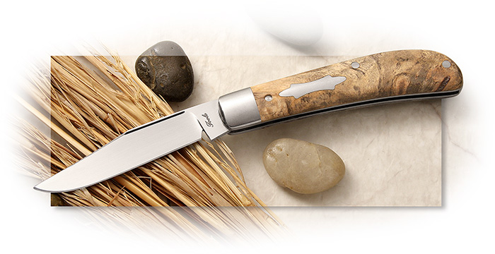 BOBBY TOOLE KNIVES - SLIP JOINT  Single blade TRAPPER - CPM154 - CALI BUCKEYE BURL HANDLE SCALES