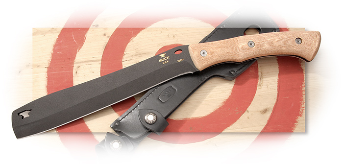 BUCK - COMPADRE FROE - - FIXED BLADE - BLACK CERAKOTE COBALT BLADE FINISH - NATURAL CANVAS MICARTA