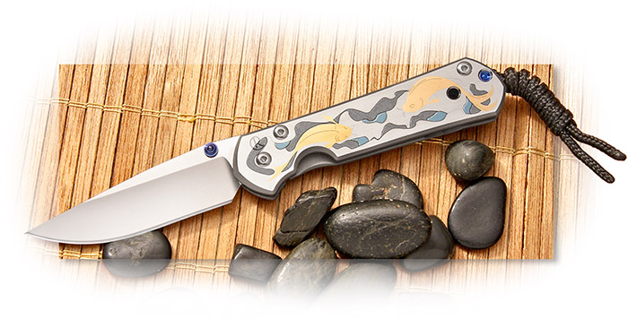 Chris Reeve Small Sebenza 21 Titanium Handle -  Koi Pond