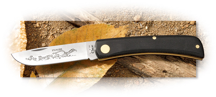 CASE - SOD BUSTER JR - BLACK SYNTHETIC HANDLE - SKINNER BLADE WITH ETCHING