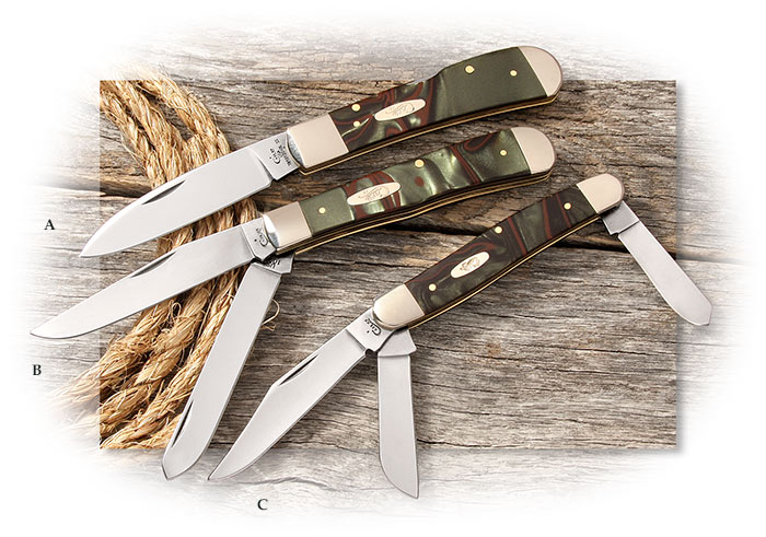 CASE - JUNGLE GREEN CAMO KIRINITE Tribal Lock, Trapper, and Stockman made in the USA