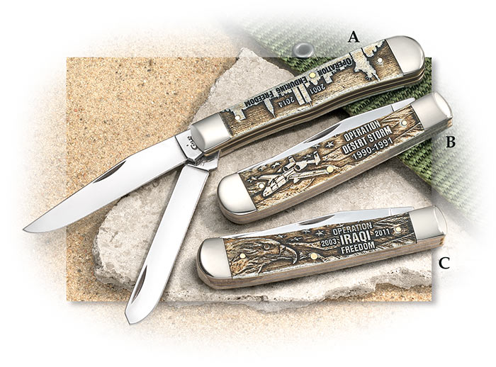 WR Case War Series Commemorative Trappers - Enduring Freedom, Desert Storm, Iraqi Freedom