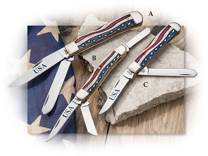 Case Patriotic Natural Bone American Flag pocket knife. Trappers and russlock