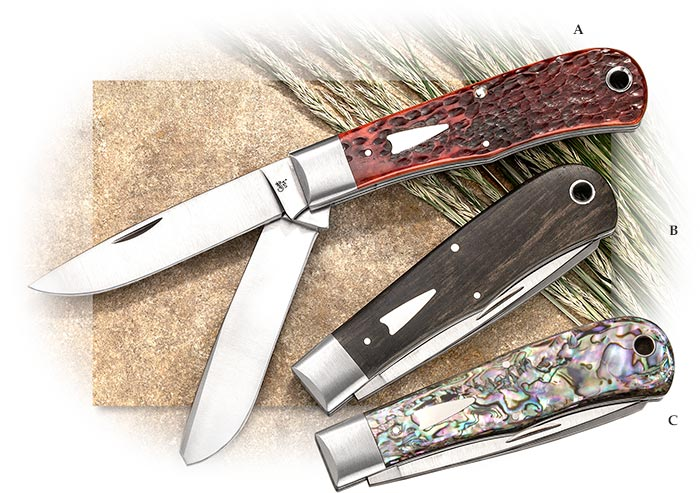 CASE - TONY BOSE BULLNOSE TRAPPER - CHESTNUT JIGGED BONE HANDLE - DROP POINT & SPEY BLADE