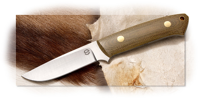 Dozier Buffalo River Hunter - Green Micarta-Left Handed Vertical Sheath