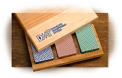 "DMT Three 6"" Diamond Stones in Cherry Wood Box"
