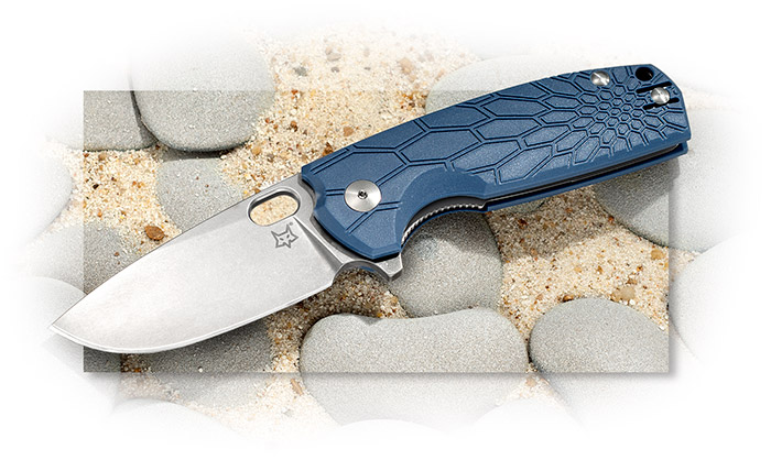 FOX CUTLERY-CORE DESIGN BY VOX-3-1/16 INCH N690CO PE BLADE-BLUE FRN HANDLE-POCKET CLIP