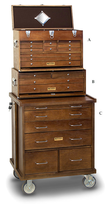 Gernster USA tools chests in hand rubbed dark walnut stain.
