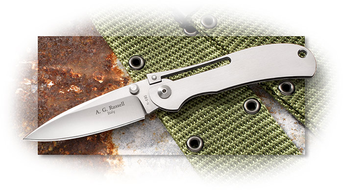 A.G. Russell One Hand Knife with Bohler N690 stainless at 58-60 Rc, made in Maniago