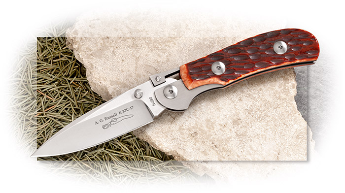 A.G. Russell K87 One-Hand Knife with Hand Jigged Brown Bone