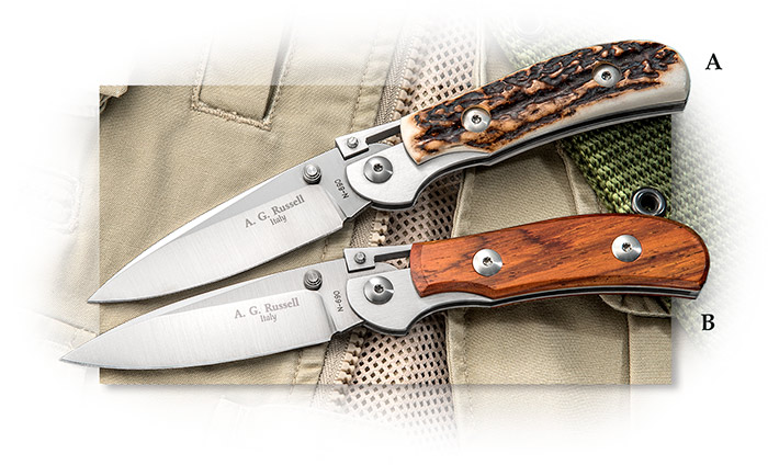 A.G. Russell One Hand Knife Bohler N690Co stainless at 58-60 Rc, made in Maniago, Cocobolo & Stag