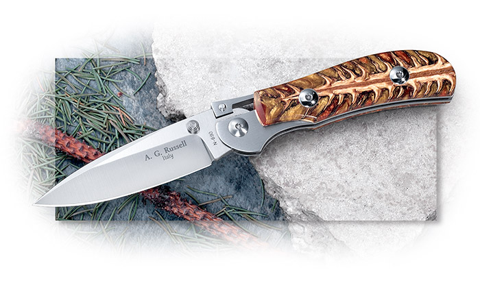 AG RUSSELL ONE HAND KNIFE - NORWAY SPRUCE CONE HANDLE SCALES