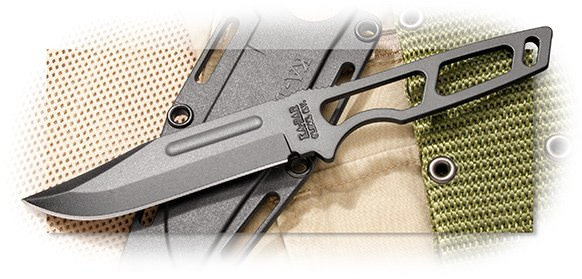 KABAR - USA NECK KNIFE - 4 INCH BLACK 1095 CRO-VAN STEEL BLADE - SKELETONIZED HANDLE - PLASTIC SHEAT