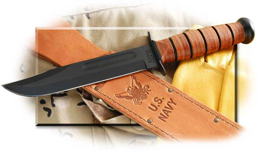 Ka-Bar U. S. Navy Fighting Utility Knife - Plain Edge - Leather Sheath