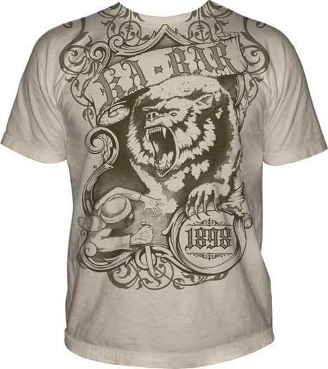 Ka-Bar Man Fights Bear Design T-Shirt Medium