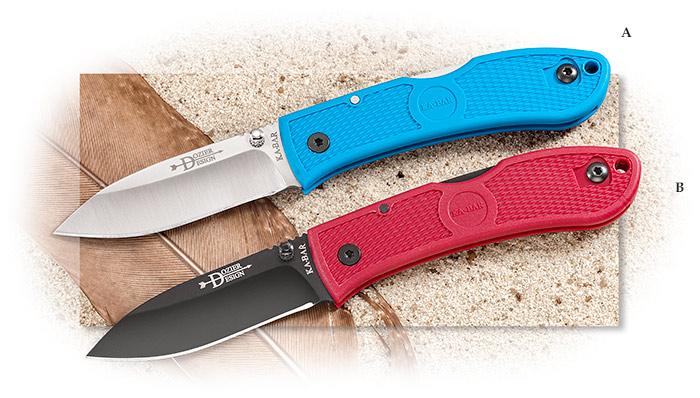 Ka-Bar Dozier design Spear Point Blade with Blue handles. Lockback
