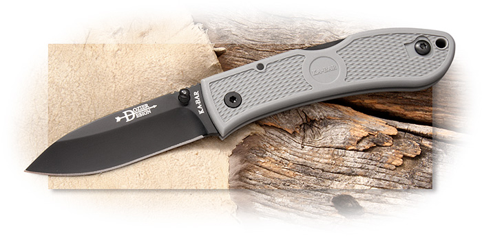 KaBar Dozier Folding Hunter AUS-8 Drop Point Hollow Ground Blade, Gray handle scales, lockback