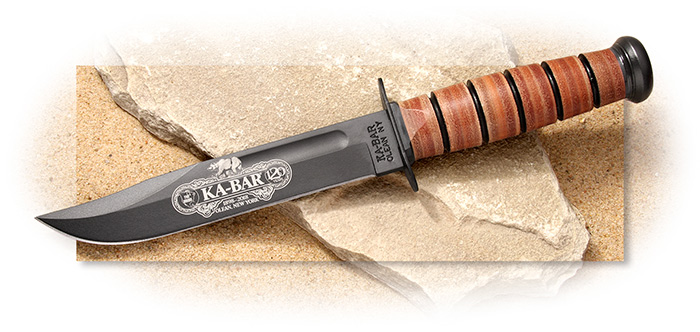 KaBar 120th Anniversary Stacked Leather Utility Commemorative Knife - U.S. Army, U.S.M.C., or Navy