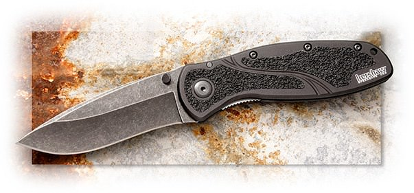 KERSHAW - BLUR BLACKWASH - 3-3/8 INCH 14C28N SANDVIK BLACK BLADE - 6061-T6 ALUMINUM BLACK HANDLE - S