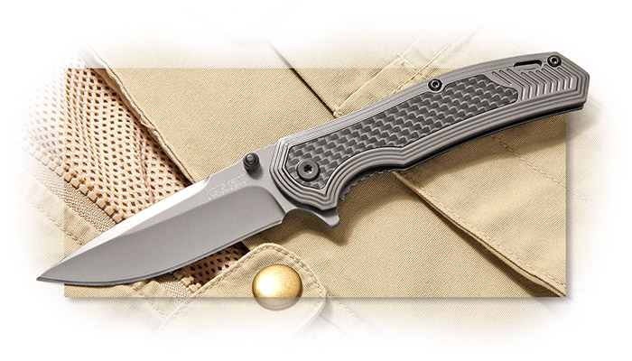 KERSHAW - FRINGE - 3 INCH 8CR13MOV GRAY PVD COATED PE BLADE - GRAY PVD COATED STAINLESS STEEL HANDLE