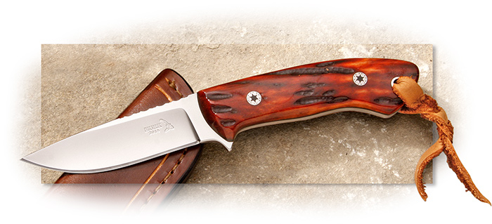 Keith Murr General Purpose Amber Jigged Bone - D2 steel, leather fob, leather sheath