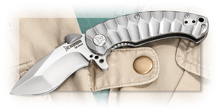 Krudo Knives Iota Folder, Drop Point Blade, Stainless Steel Handles