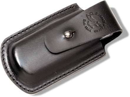 A G Russell Black Leather Belt Pouch