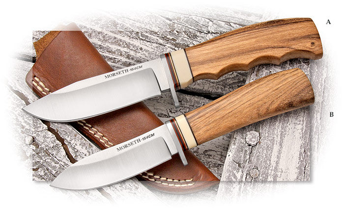 Morseth 154CM Model 2 Michigan Sportsman and Model 15 Nesmuk in African Ironwood. Shopmade hunters