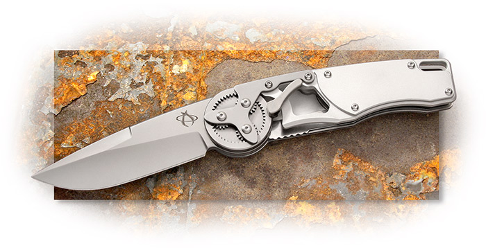 MANTIS - GEARHEAD - DROP POINT - BEAD BLASTED - 440C STAINLESS STEEL BLADE - LINER LOCK - STAINLESS