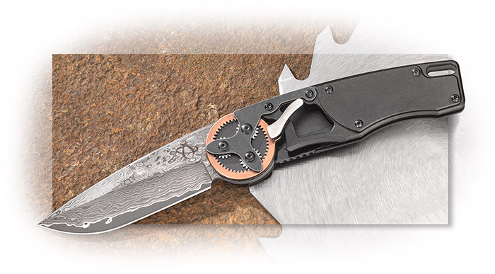 MANTIS - GEARHEAD FOLDER - COPPER RING GEAR - DAMASCUS BLADE - STONEWASHED HIGH CARBON STEEL HANDLE