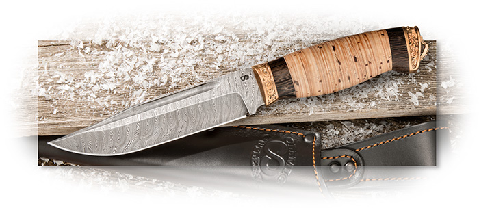Olamic Cutlery Handmade Damascus Hunter Birch and African Wenge Wood Handle Bronze Pommel