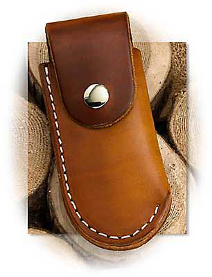 "5"" Brown Leather Snapped Folder Pouch"