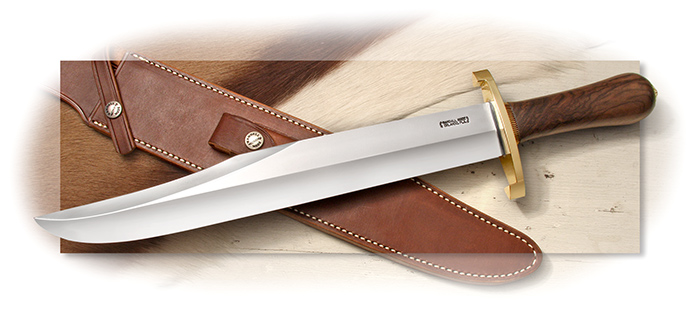 "RANDALL MODEL 12 RAYMOND THORP 13"" O-1 BLADE-CONCAVE WALNUT HANDLE-BRASS DOUBLE LUGGED HILT"