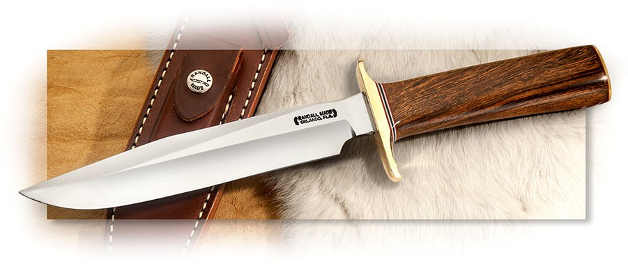 Randall Model 1 Handmade Fighter with Desert Ironwood and brown leather sheath & pocket stone