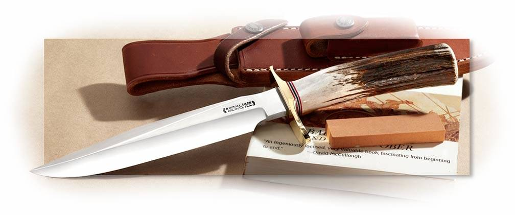 Randall Model 1 with O-1 non-stainless steel, Stag Handle, brown leather sheath, pocket stone
