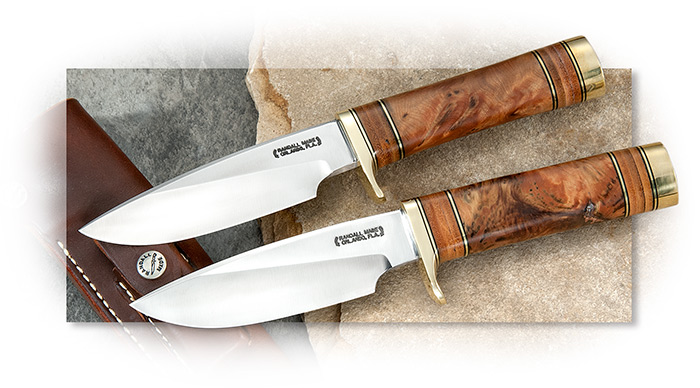 Randall Model 25 with Thuya Wood handle, O1 non-stainless tool steel, leather sheath