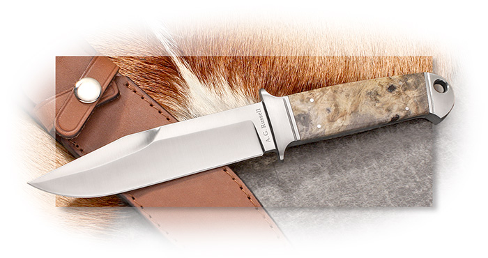 A.G. Russell Drop Forged Chute Knife Full Integral w/ California Buckeye or Pink Box Eldar Burl